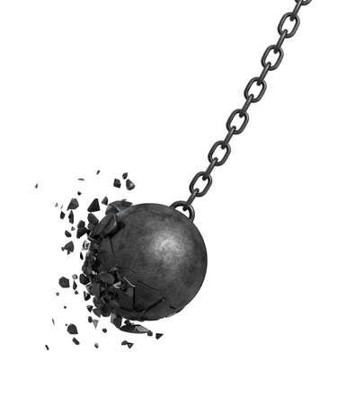 Representación 3d de una bola de destrucción de oscilación negro estrellándose contra una pared sobre fondo blanco.
