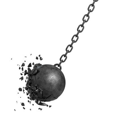3d rendering of a black swinging wrecking ball crashing into a wall on white background.