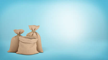 money packs: 3d rendering of a three money bags on blue background, two of them tied up and one open.