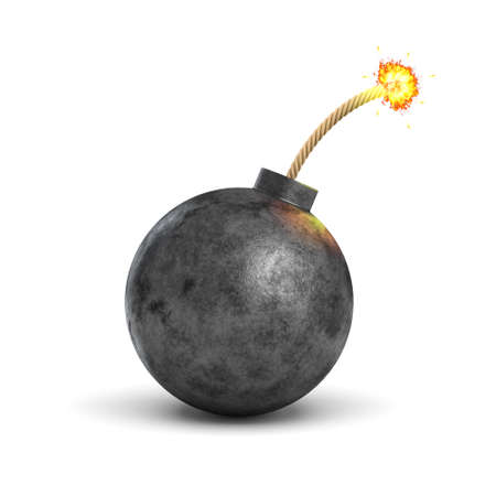 3d rendering of a realistic black iron round bomb with a lit burning fuse on white background.