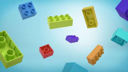 파란색 배경에 위에서 떨어지는 빌딩 블록 여러 가지 빛깔 된 사각형 장난감 블록의 3d 렌더링.