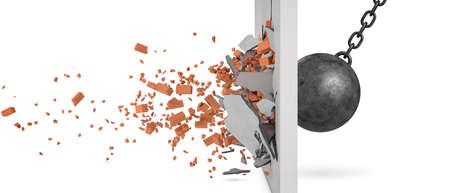 3D-Rendering von einem großen schwingenden Abrissbirne, die an einer Mauer mit Stücken von der Wand zusammenstößt, die weg in der Seitenansicht fliegt.
