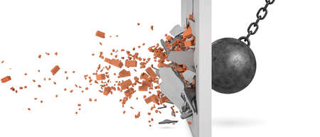 3d rendering of a large swinging wrecking ball crashing at a brick wall with pieces from the wall flying away in side view. Standard-Bild