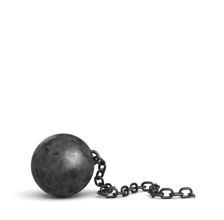 3d rendering of a large black iron ball lying down with a piece of its broken chain