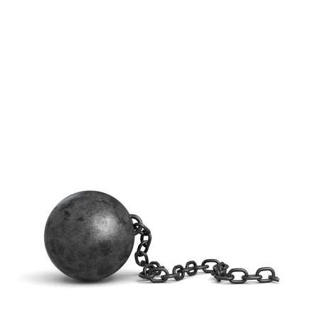 Rendu 3d d & # 39 ; une grosse boule de fer noir gros plan avec une pièce de sa chaîne brisée Banque d'images - 79191743