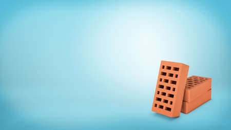 3d rendering of a three hollow red bricks placed on a blue background with one of them leaning on two others.
