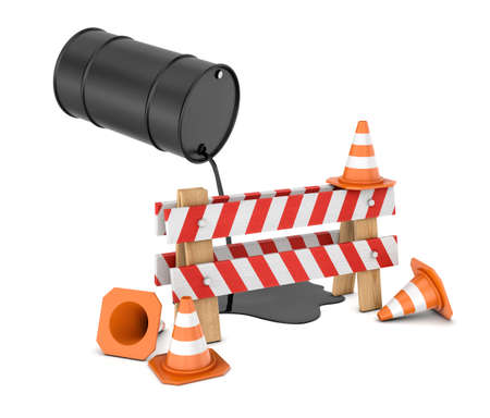 3d rendering of a striped roadblock sign beside several traffic cones and a barrel leaking oil on them from above.
