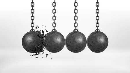 destructive: 3d rendering of a set of four black iron wrecking balls handing from their chains where one ball is broken.