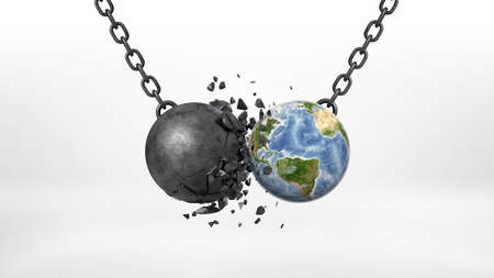 3d rendering of a black broken wrecking ball hitting an Earth globe on a black chain on white background.