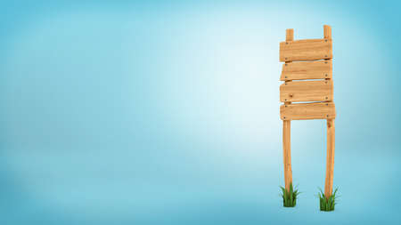 3d rendering of a wooden post with four square boards for information. Stock Photo