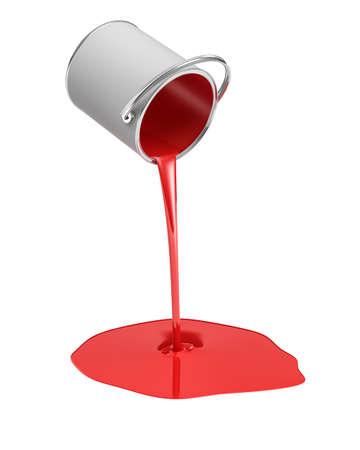 Rendu 3D d'un seau de peinture rouge renversé avec de la peinture qui fuit dans une flaque d'eau isolé sur fond blanc