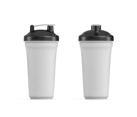 muscle gain: 3d rendering of two white water shakers with black covers in side and front views on white background.