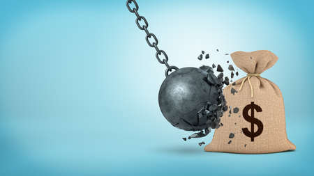 3d rendering of a large wrecking ball hitting a big hessian money bag and breaking itself. Foto de archivo
