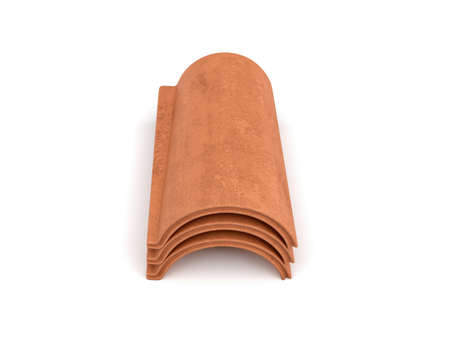 3d rendering of a small group roof tile lying in front view isolated on white background.