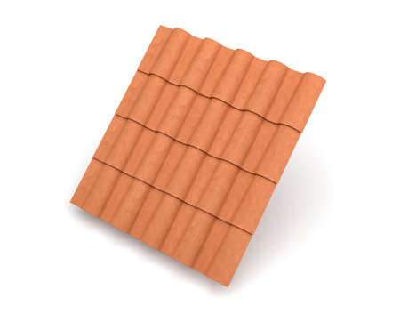 3d rendering of group interlocked terracotta barrel tiles isolated on white background.