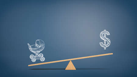 A wooden seesaw on blue background with a chalk picture of a stroller overweighing a picture of USD sign. Stock Photo