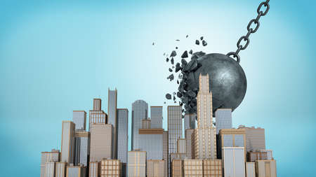 3d rendering of a large wrecking ball falling at a small downtown model while crashing itself on blue background.