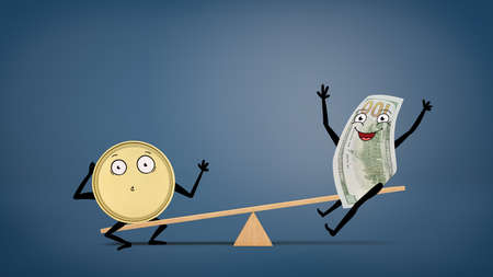 An anthropomorphic golden coin overweighing a smiling dollar bill white sitting on a wooden seesaw.