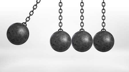 pendulum: 3d rendering of a wrecking ball swinging on white background beside three still hanging balls on white background. Stock Photo