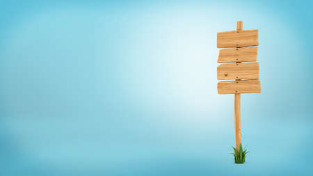 plywood: 3d rendering of a wooden post with four square boards for information. Stock Photo