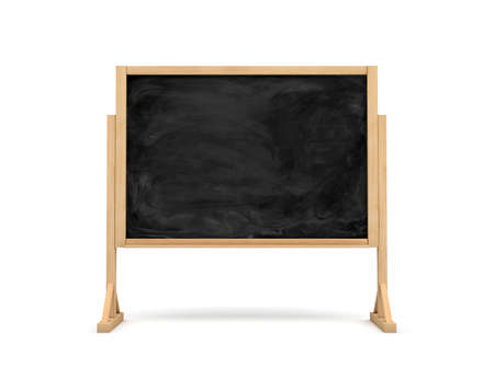 smudged: 3d rendering of a black rectangle school chalkboard on a wooden stand isolated on white background.