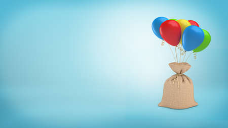 burlap: 3d rendering of a big full sack tied with a piece of rope and attached to a bundle of colorful balloons. Stock Photo