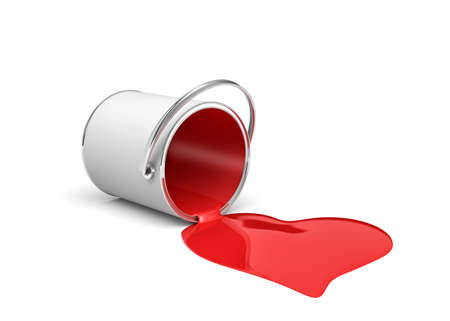 3d rendering of a red paint bucket lying on its side with paint leaking out and made heart shape. Stock Photo