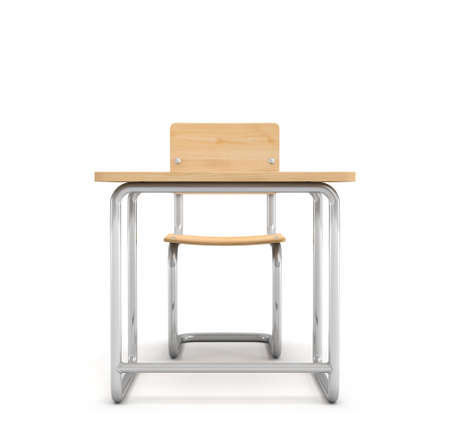 schooldesk: 3d rendering of a school desk and chair both are made of iron and light wood isolated on white background. Stock Photo