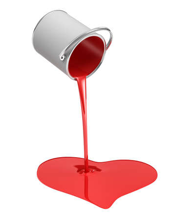leaking: 3d rendering of a red paint bucket overturned with paint leaking out into a heart shape puddle isolated on white background