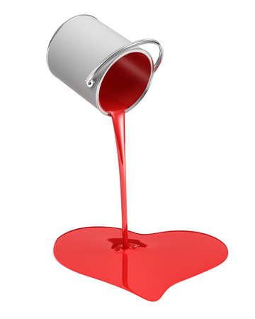 3D-weergave van een rode verf emmer omgesloten met verf die lekt in een hartvorm plas op een witte achtergrond