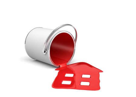 3D-weergave van een rode verf emmer liggend aan zijn kant met verf lekken en huisvorm gemaakt.