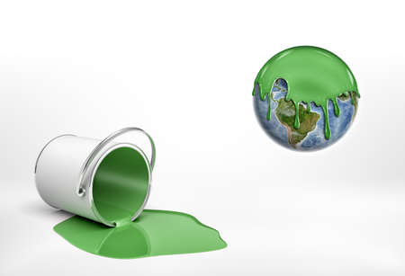 3d rendering of a overturned green paint bucket lying beside an Earth globe half covered in green paint. Stock Photo