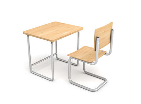 3d rendering of a school desk and chair both are made of iron and light wood isolated on white background. Stock Photo