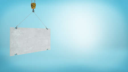 3d rendering of a blank grey concrete block caught on a construction crane hook on blue background.