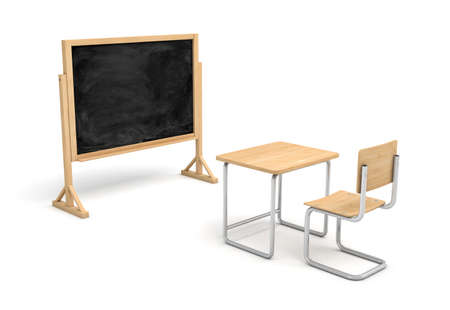 schooldesk: 3d rendering of a new wooden school desk and a chair in front of a blank chalkboard on a wooden stand. Stock Photo
