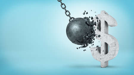 heavy risk: 3d rendering of a large wrecking ball hitting a concrete USD sign and unable to break it on blue background.