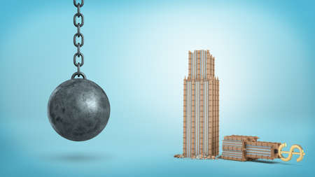 3d rendering of a black iron wrecking ball hanging beside a broken office building with a USD sign on its top.
