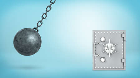 ball and chain: 3d rendering of a large wrecking ball swinging in dangerous closeness to silver old-fashioned safe box and crashing itself in many pieces