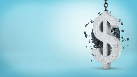 3d rendering of a large wrecking ball hitting a concrete USD sign and unable to break it on blue background.