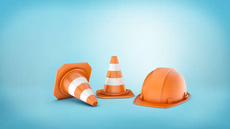 3d rendering of two striped road cones and helmet on blue background. Stock Photo