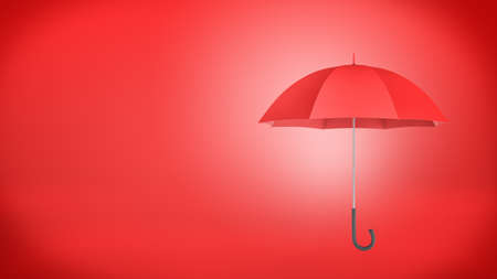3d rendering of a new classic open red umbrella with a black handle on red background.