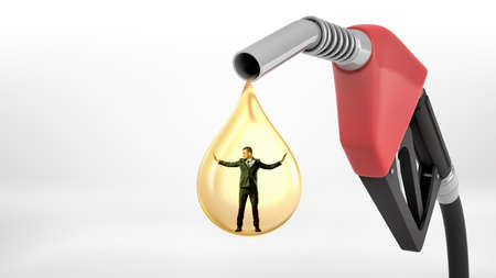 A large red gas nozzle leaking a giant yellow oil drop with a tiny businessman standing inside it.