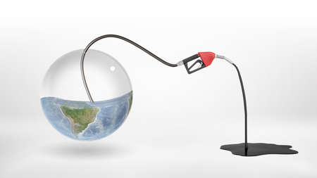 3d rendering of gas nozzle attached to a half empty glass earth globe and leaking oil to a puddle.