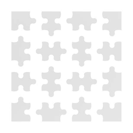 difficulties: 3d rendering of many white puzzle pieces isolated on white background.