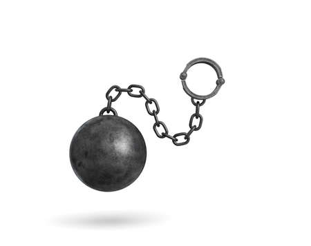 3d rendering of a black iron ball and chain with a cuff hanging on white background.