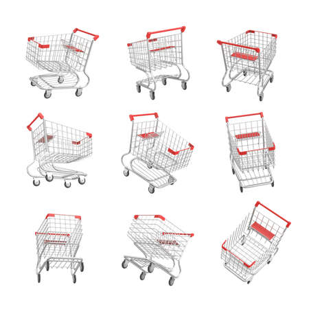 3d rendering of a set of isometric shopping carts on white background. Stockfoto
