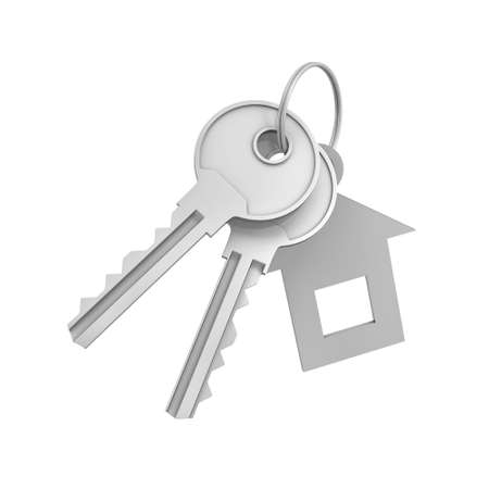 3d rendering of two isolated silver keys on a key ring with label. Safety and protection. Keep information locked. Password protected entry. Stock Photo