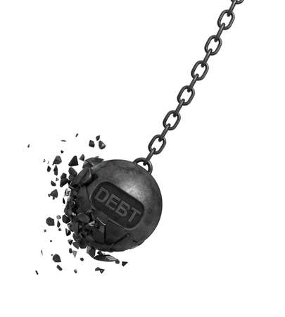 repossession: 3d rendering of a large wrecking ball with a writing DEBT swings on a chain while its pieces and chunks are flying out. Settling obligations. Financial trouble. Loss of money.