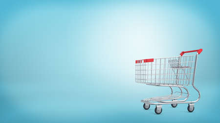 3d rendering of a shopping cart with a red handle isolated on blue background. Stock Photo