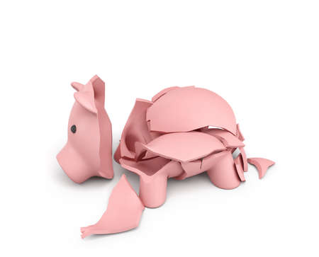 poverty: 3d rendering of a pink ceramic piggy bank completely broken up into several large pieces.